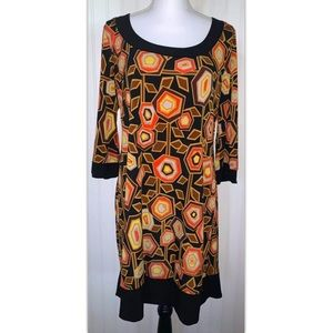 Blu Sage Size Large L Dress Abstract Retro Floral